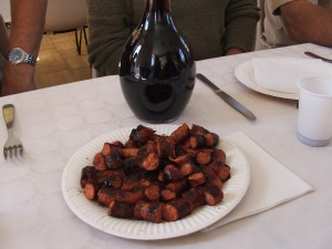 sausages and as much wine as you can drink included in the price